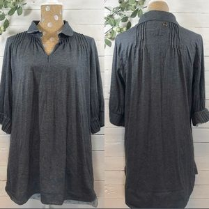 Free People Collard Shirt Tunic Dress 3/4 Sleeve
